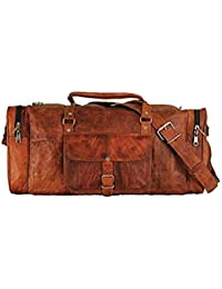 "28""Pure Genuine Leather Vintage Handmade Gym Travel Brown Duffle Bag Use Daily"