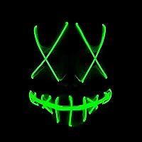 Yukun Máscara La máscara Luminosa de la línea de la luz fría de Halloween llevó la máscara Fluorescente Adulta de la mueca de Destello, Verde