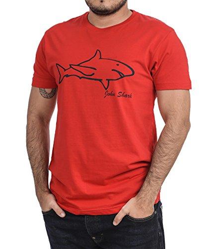 John Shark Herren T-Shirt, Logo Rot