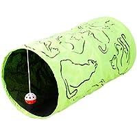 Mascota Perro de juguete/juguete/juguete de gato, Y56mascota túnel gato impreso verde arrugada gato túnel de juguete con pelota jugar diversión juguete interactivo juguetes para perros gatos mascotas