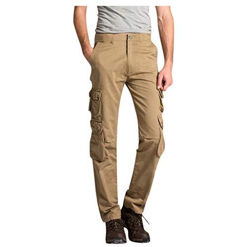 4a4ba7fd4992 Dragon868_Pantaloni Cargo Uomo Cotone metà Vita Bottone Traspirante Tooling  Long Pants con Tasche Loose Outdoor Montagna