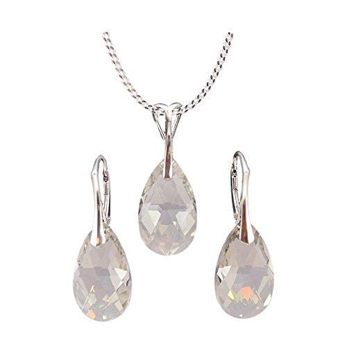 Crystals & Stones *MANDEL* Schmuck-Set *VIELE FARBEN* Silber 925 Schön Damen Schmuckset mit Kristallen von Swarovski Elements - Wunderbare Ohrringe und Halskette mit Geschenkbox (Silver Shade) -