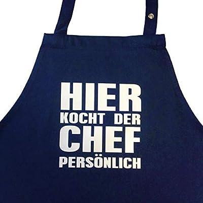 Hier Kocht der Chef persönlich - Kochschürze, Grillschürze mit Verstellbarem Nackenband und Seitentasche
