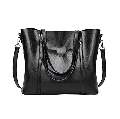UFACE Reine Farbe große Kapazität Handtasche Schultertasche Messenger Bag Tote Bag Beuteltasche Frauen Umhängetasche (Sternenklares Schwarz)