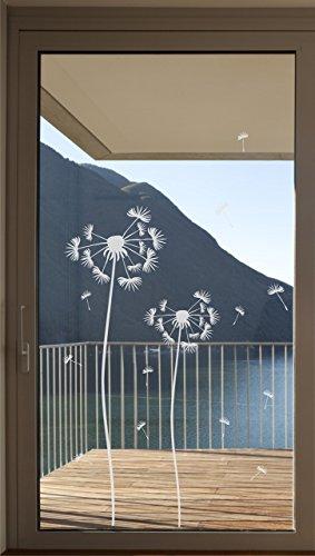 Pusteblume als Aufkleber Glastür Fensterfolie Glasdekor Tür Folie Bad Badezimmer Terassentür Balkontür Zimmertür Fenster Window wasserfest selbstklebende Folie -