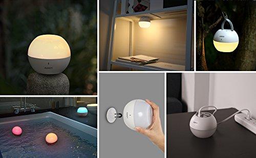 AUKEY Lámpara de Noche Control Táctil con Blanco Cálido Ajustable y RGB, Recargable Apliques de Pared Móviles con Impermeable IP65 & Resistente a Caída, Lámpara de atmósfera y Luz de Noche para Niños