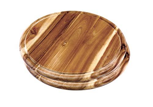 2x Fleischteller Akazie rund 30cm Vesperteller Vesper Brett FSC zertifiziert - Als Servierplatte oder Schneidebrett mit Saftrille