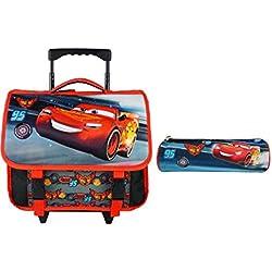 Cartable A roulettes 38CM+Trousses Noir ET Rouge-Cars Disney MacQueen