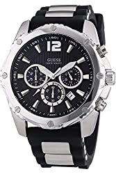Guess W0167G1,Mens Chronograph,Stainless Steel case,Silicone Strap,Screw Crown,Date,100m WR