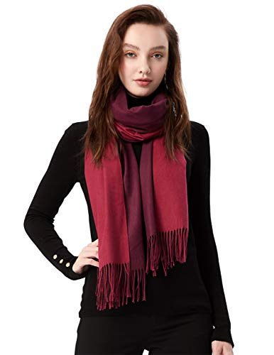 MaaMgic Schal Damen Zweifarbig Stola mit Baumwolle Herbst Winter Mehrfarbige Deckenschal MEHRWEG Rot Dunkelrot