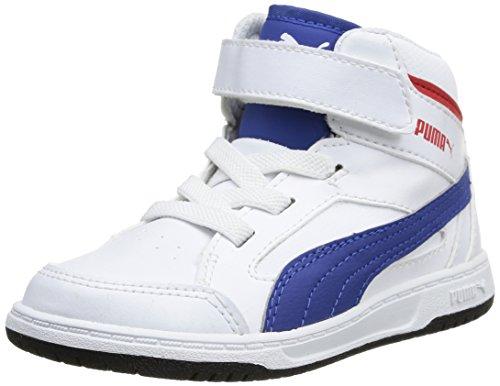 Puma Rebound v2 Hi Kids 356809 Unisex-Kinder Hohe Sneakers Weiß (Blanc (White/Limoges/High Risk Red))