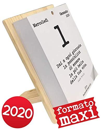 Calendario geniale 2020 maxi con supporto. leggi le frasi filosofiche con il supporto in legno naturale di abete