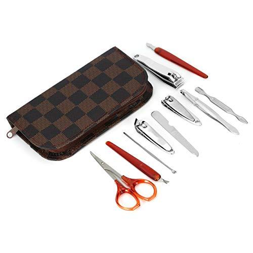 Prima05Sally 10 stücke Nagelknipser Kit Nagelpflege Set Pediküre Schere Pinzette Messer Ohr Pick Maniküre Set Werkzeug mit Deluxe Tragetasche -