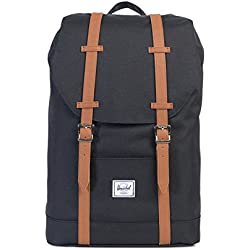 Herschel Supply Co. - Mochila Mediana, Black/Tan Synthetic Leather (Negro) - 10329-00001-OS