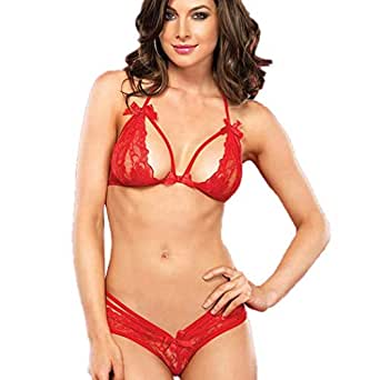 Livesimply Women's Lace Backless Halter Floral Underwear Bra with Panty (Red, Small) -Set of 2 Lingerie Pieces