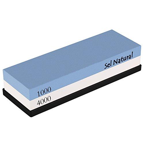 Abziehstein, Sel Natural 2 IN 1 Schleifstein 1000/4000 Doppelseitig Wetzstein mit rutschfestem Silikonhalter für Messer Körnung Rutschfeste Unterlage