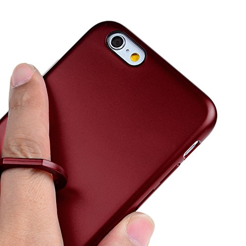 iPhone 6 Plus/ 6s Plus Cover Opaco Vernice Metallizzata Rigida Plastica PC - YOKIRIN Case con Stent Anello Ultra Slim Sottile Case [Custodia + Penna Capacitiva] - Nero Rosso