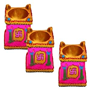 Set of Three Tulsi Kund Earthen Diya