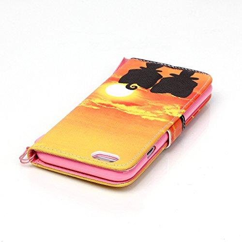 Coque pour Apple iphone 5 5s,Housse en cuir pour Apple iphone 5 5s,Ecoway Colorful imprimé étui en cuir PU Cuir Flip Magnétique Portefeuille Etui Housse de Protection Coque Étui Case Cover avec Stand  B-1
