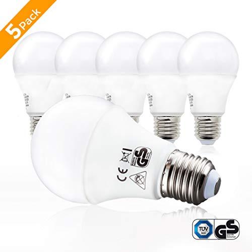B.K.Licht ampoule LED E27 9W - Equivalence incandescence 60W, forme classique, blanc chaud - 2700K, lot de 5, 806lm, 230V, A60