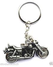 Delhi Traderss Motor Bike Shape Grey Metallic Key Chain Full Metal Keyring For Car And Bike