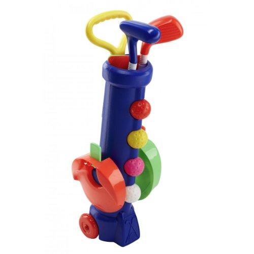 Silverline Mini-Golf-Set für Kinder ab 3 Jahren - Trolley-Bag + Schläger + Bälle + Löcher mit Fähnchen (Blaues Bag) -