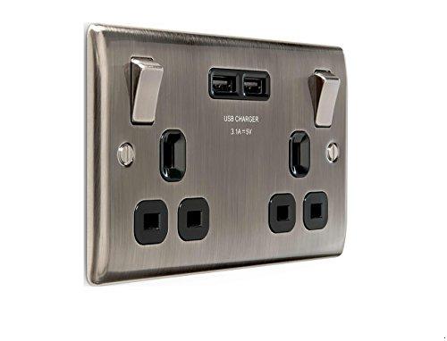 BG Electrical NBI22U3B Nexus Iridium aus gebürstetem Metall, doppelt geschaltete 13-A-Steckdose mit USB-Aufladung - 2X-USB-Buchsen (3.1A) schwarzer Einsatz