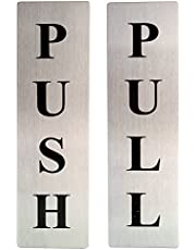 EKRON Self Adhesive Stainless Steel Push & Pull Metal Signage Board Combo, Silver