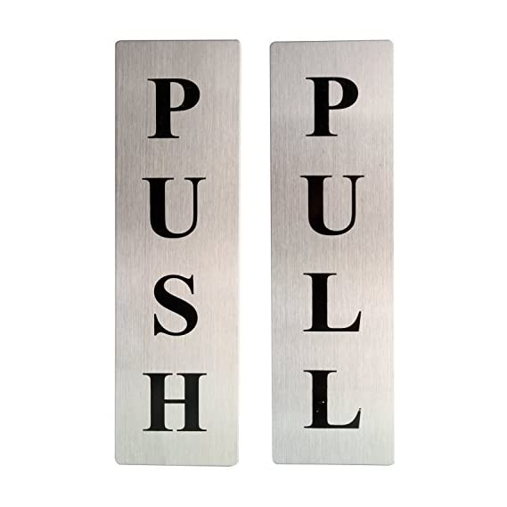Orpio (Lable) Stainless Steel Push and Pull Metal Door Sticker Signage Board (Silver)