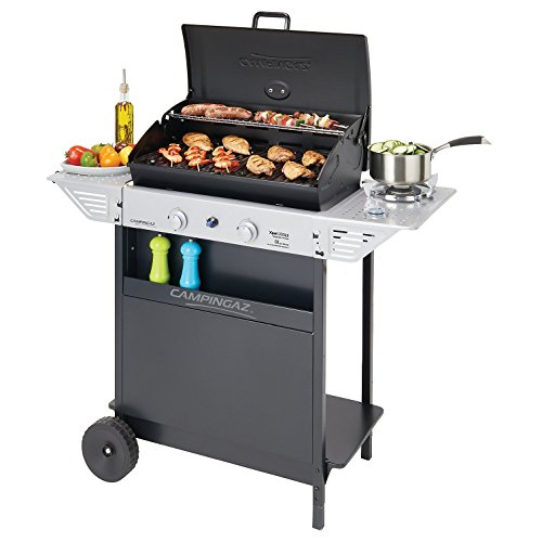 Campingaz Xpert 200 LS Gas BBQ 2 Burner Barbecue with Side Burner and 2 Side Tables - Black/Silver