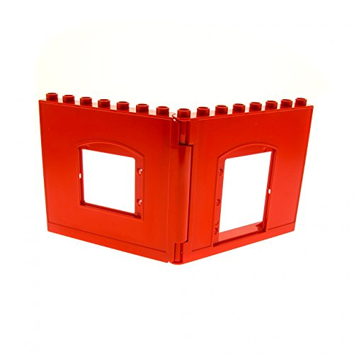 1 x Lego Duplo Wand Element rechts links 1x8x6 rot mit Ausschnitt für Tür Fenster Puppenhaus 51261 51260