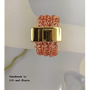Ring Kupfer (anlaufgeschützt) mit goldfarbenem Slider - Unikat