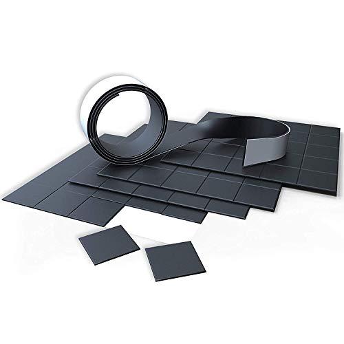 100 selbsklebende Magnetplättchen 20x20mm & 1m Magnetklebeband (zuschneidbar) Magnetset: Magnetband und Magnet-Plättchen