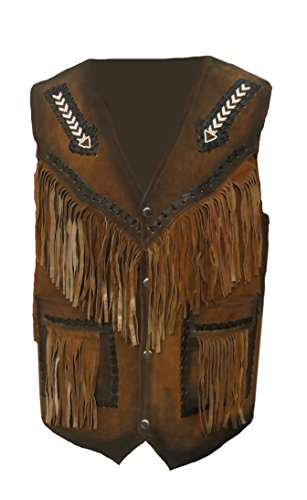 classyak occidentale Pelle Uomo Gilet Con Frange E Freccia Design Suede Brown (Suede Occidentale Fringe)
