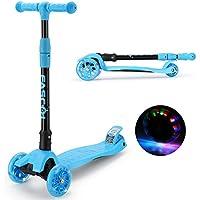 Fascol Kinderroller Scooter Klappbar Roller ab 2-12 Jahre Leuchtende Räder Tretroller Cityroller mit Knieschützer und Ellenbogenschützer Belastbarkeit bis 60 kg