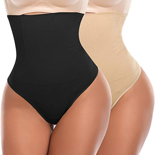SLIMBELLE Thong Tummy Control Panties Knickers Underwear Body Shaper Shapewear Seamless Butt Lifter High Waist Briefs Underpants for Women 2 Pack-Black-S - Control Panty