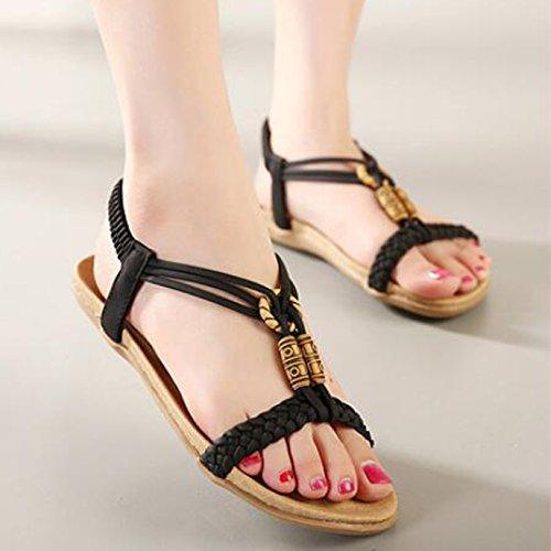 Damen Böhmen Strand Schuhe Peep-Toe Flache Sommer Sandalen(EU 34--EU 41) Schwarz