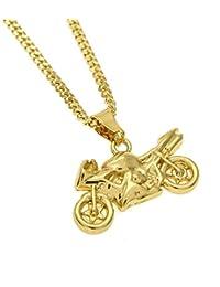 acd24024063 Mcsays Collier de style Hip Hop pour homme avec pendentif en forme de moto  couleur dorée