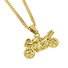 MCSAYS Collana Hip Hop Pendente moto color oro placcato oro 18k catena rame cubano  collana punk 4af16aacb87a