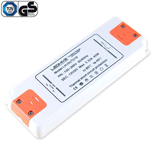 - Ultradünner LED-Treiber-Transformator, 240 V - 12 V, mit Klemmblöcken, 240 V AC bis 12 V DC, keine Interferenzen mit Dab und WLAN 40.00W, 12.00V -