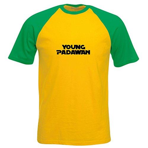 Young Padawan, Baseball T-shirt, Gelb/Gruen/Schwarz, 2XL (47-49 Zoll)