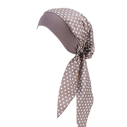 ishine Damen Kopftuch Printed Turban mit Elastische Stirnband Hut Elegante Hijab Chemo Atmungsaktiv Islamischen Kopfbedeckung Muslimischen Kopfschmuck Turban-Kappe für Haarausfall