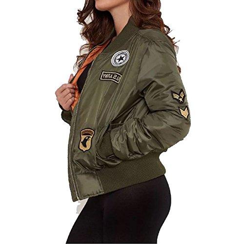 Più recente stile bomber giacca con zip Ladies Cachi