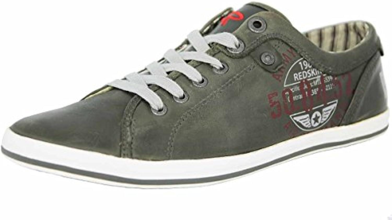 Redskins HABERON Grau Weiss Leder Herren Mode Schuhe Sneaker Neu