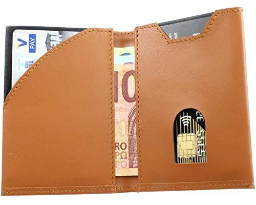 SKULLINO - Dünne Geldbörse aus echtem Leder mit RFID Schutz - Bis zu 10 Karten - Ultra Slim Wallet - Dünnes Portemonnaie, Portmonee - Kleiner Geldbeutel, dünne Brieftasche (Braun) (Wallet Kleine Snap)