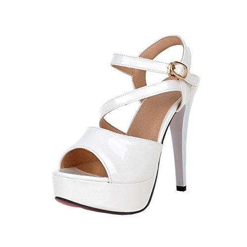 Y2Y Studio Damen Sandalen Lack Sommer Peep Toe High Heels Riemchen Stilettto Slingback mit Buckle 12cm Absatz Elegant für Party Hochzeit