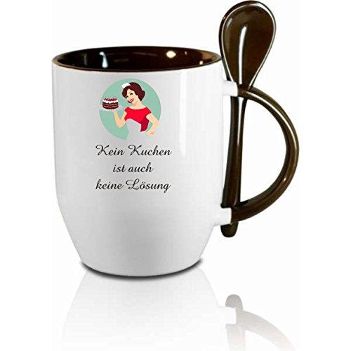 """Tasse m. Löffel"""" Kein Kuchen ist auch keine Lösung """" Löffeltasse, Kaffeetasse mit Motiv,Bürotasse, bedruckte Tasse mit Sprüchen oder Bildern - auch individuelle Gestaltung nach Kundenwunsch"""