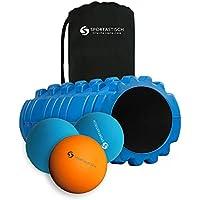 """""""Let´s Roll""""Rodillo para la fascia, bolas de masaje y bolsa de transporte:: 3 zonas :: Rodillo de masaje + bola Lacrosse + bola dúo innovadora :: Dureza mediana :: Garantía de 3 años"""
