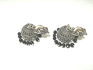 Lilac Silver plated black stone beds Women antique fashion Bollywood Earrings