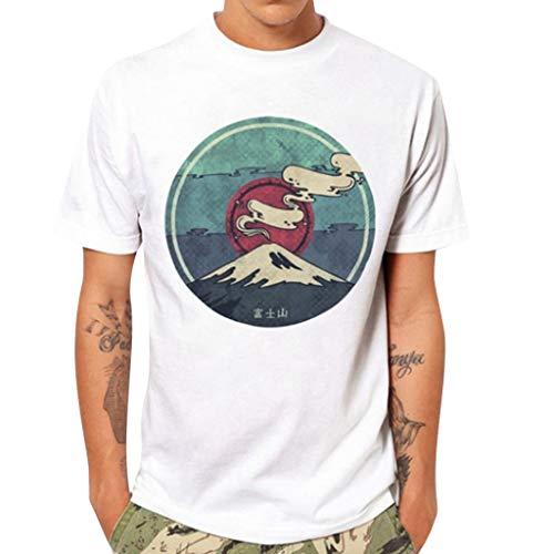 Xmiral T-Shirt Herren Kurzärmlig Rundkragen Sommer Freizeit Gedruckte Weiß Tops Shirt Hemde Slim Fit Poloshirt Lose Bluse (Weiß,M)